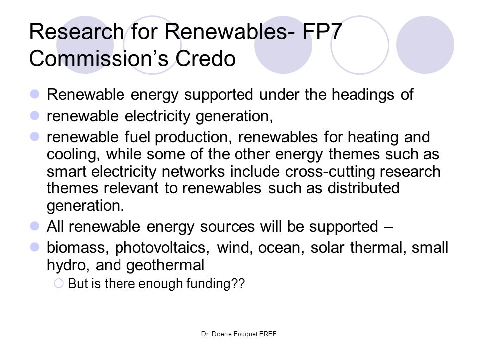 Research for Renewables- FP7 Commission's Credo