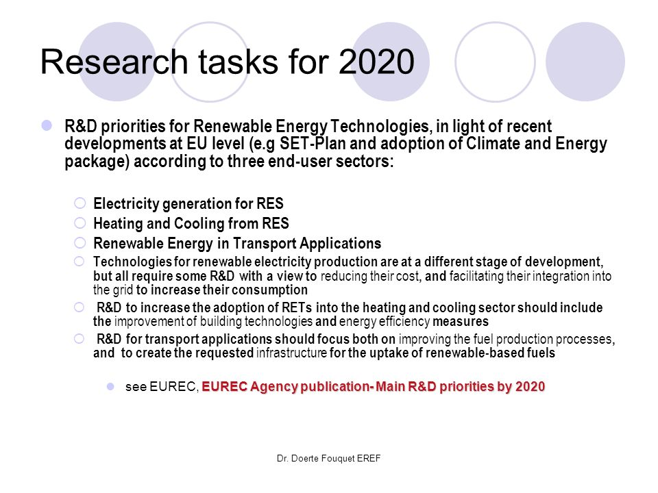 Research tasks for 2020