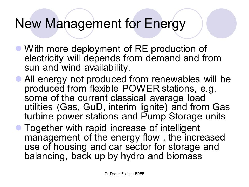 New Management for Energy