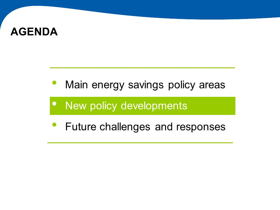 Main energy savings policy areas New policy developments
