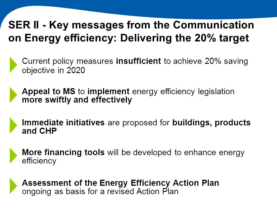SER II - Key messages from the Communication on Energy efficiency: Delivering the 20% target