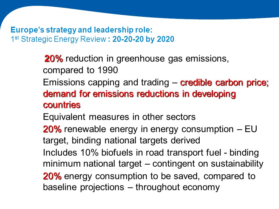 20% reduction in greenhouse gas emissions, compared to 1990