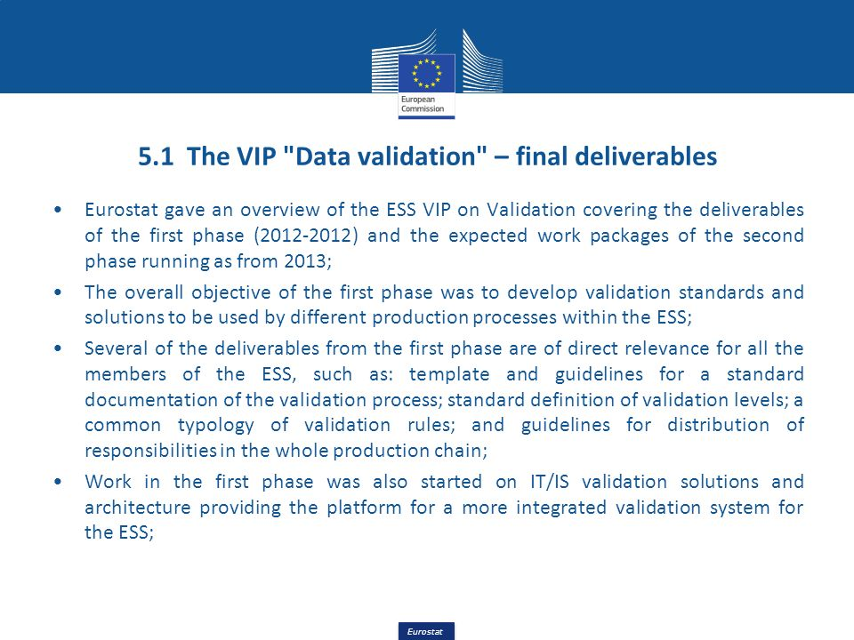 5.1 The VIP Data validation – final deliverables