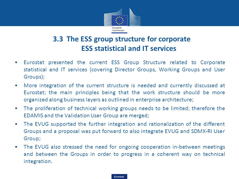 3.3 The ESS group structure for corporate ESS statistical and IT services