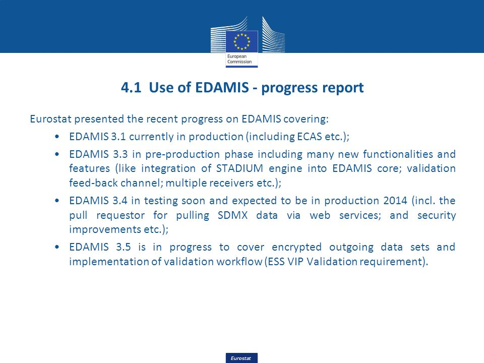 4.1 Use of EDAMIS - progress report