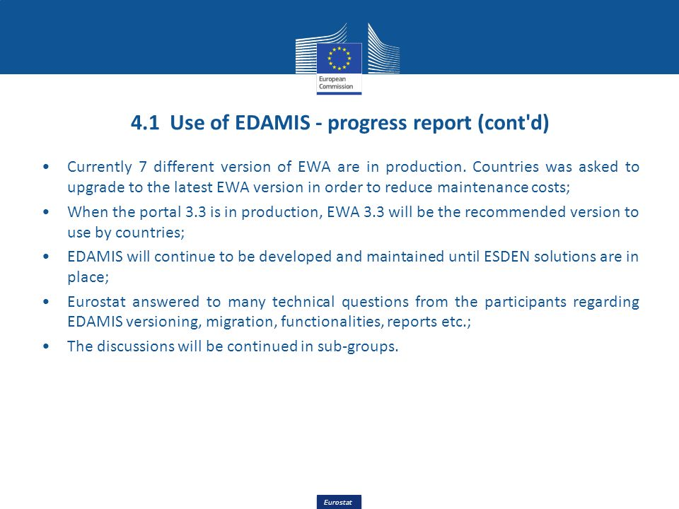 4.1 Use of EDAMIS - progress report (cont d)