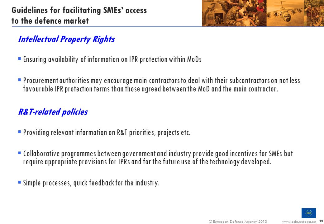 Guidelines for facilitating SMEs' access to the defence market