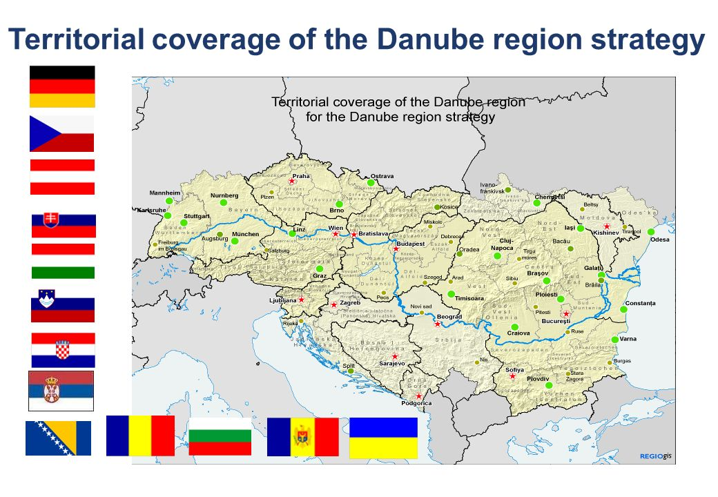 Territorial coverage of the Danube region strategy
