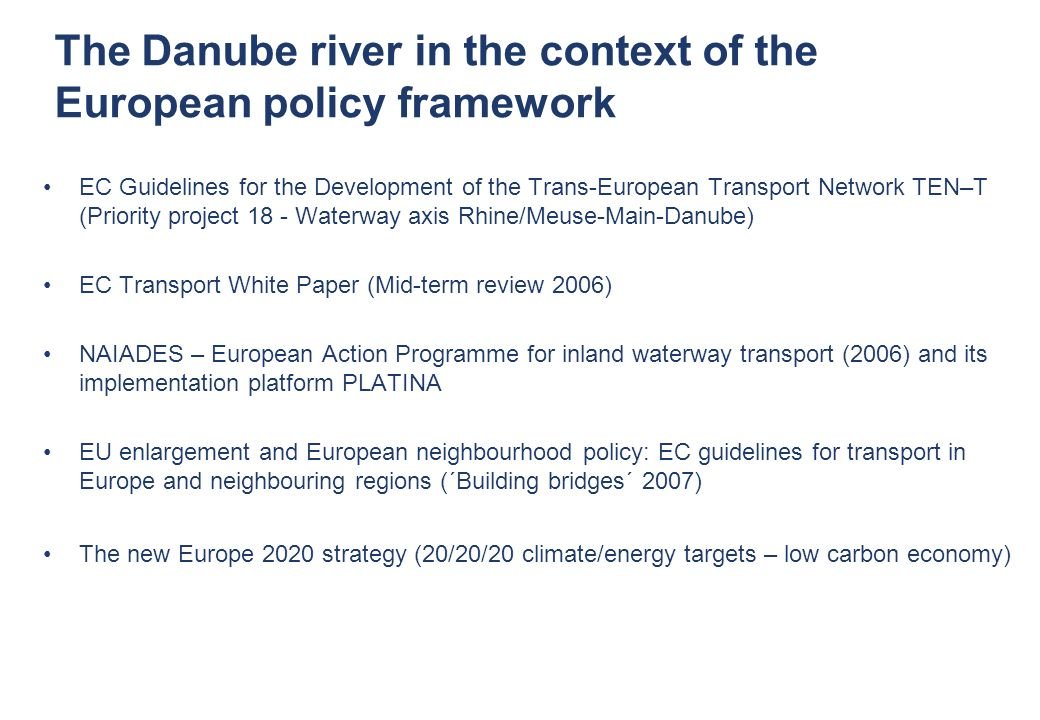 The Danube river in the context of the European policy framework