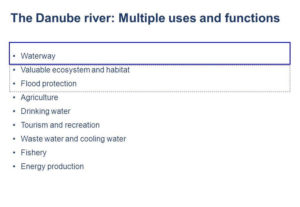 The Danube river: Multiple uses and functions