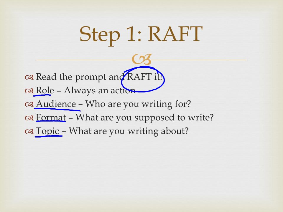raft essay directions View essay - argument essay assignment from engl 100 100 at liberty university engl 100 argument essay final draft template step 5: argument essay final draft directions: turn off the track changes.