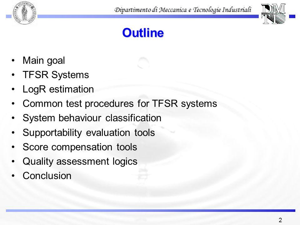 Outline Main goal TFSR Systems LogR estimation