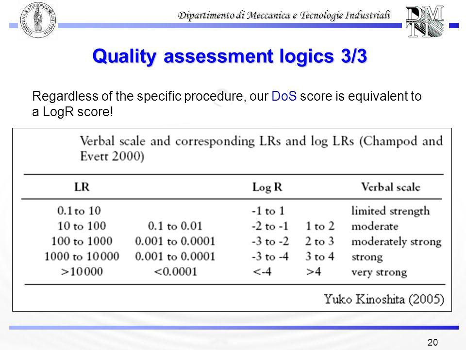 Quality assessment logics 3/3