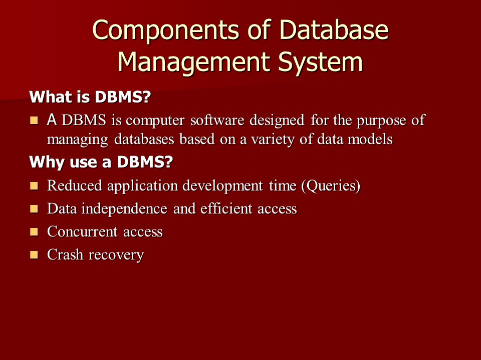 Components Of Database Management System Ppt Video