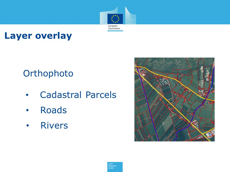 Layer overlay Orthophoto Cadastral Parcels Roads Rivers