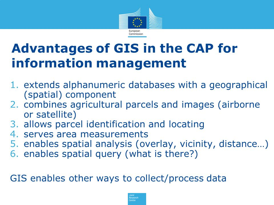 Advantages of GIS in the CAP for information management
