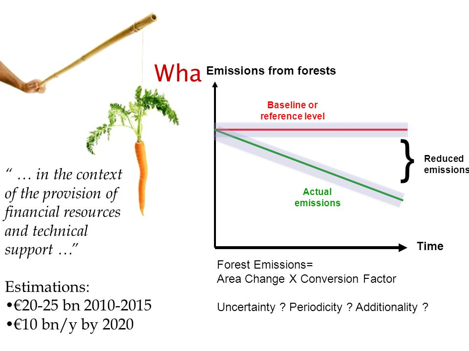 What is REDD Emissions from forests. Baseline or. reference level. } Reduced emissions.