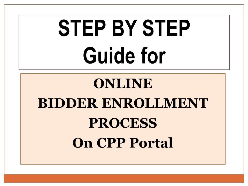online bidder enrollment process on cpp portal