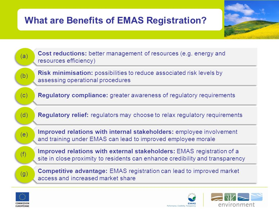 What are Benefits of EMAS Registration