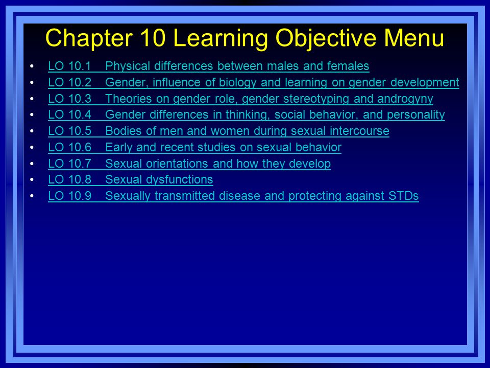 Chapter 10 Learning Objective Menu