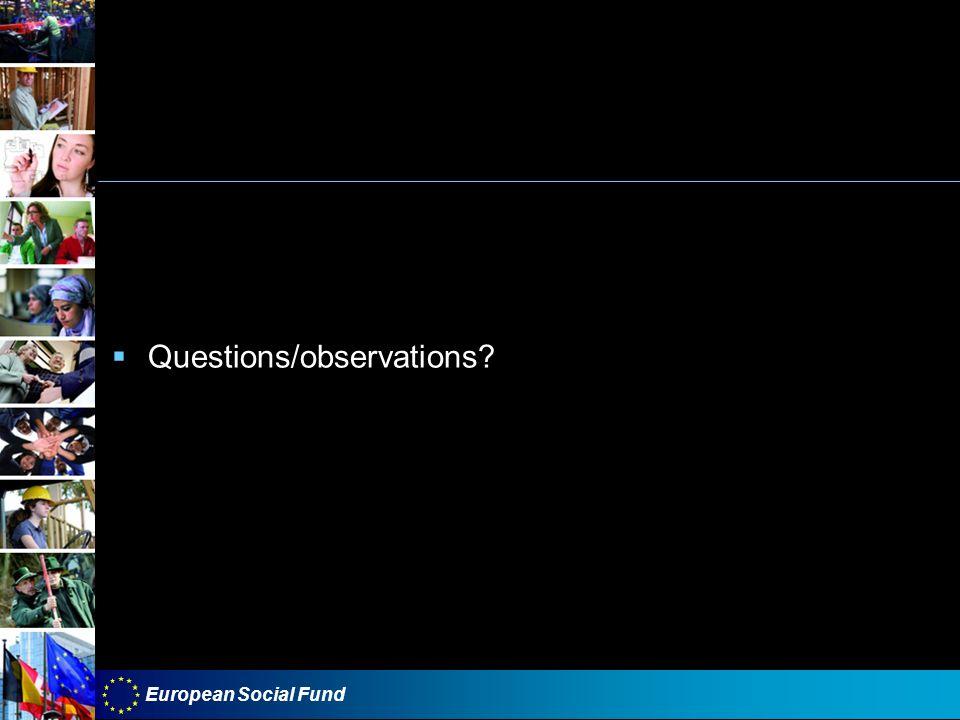 Questions/observations