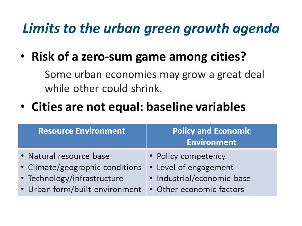 Limits to the urban green growth agenda