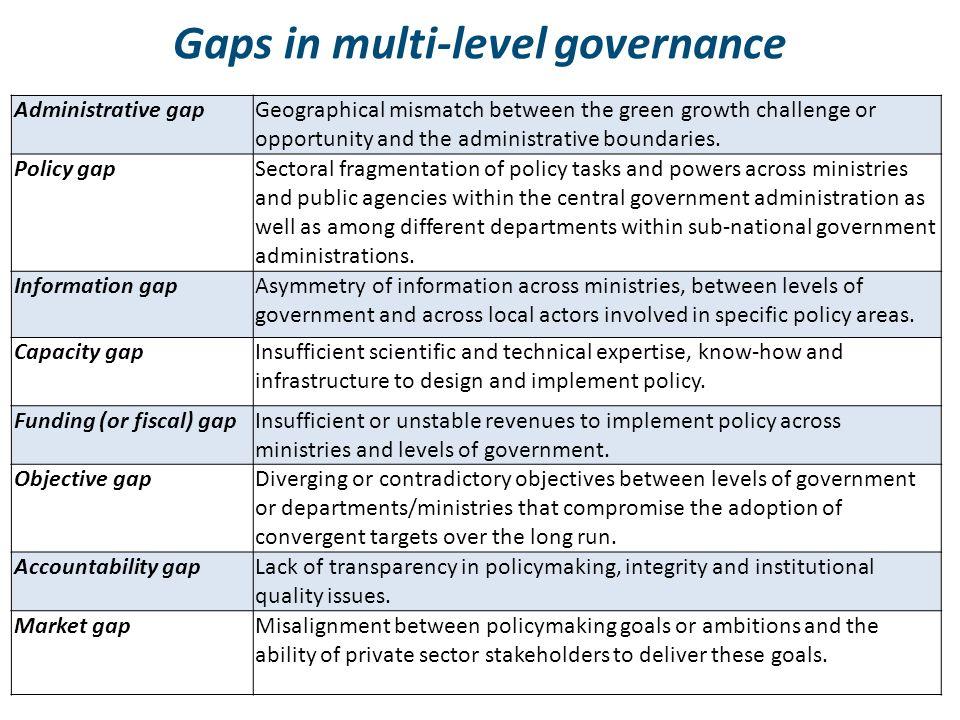 Gaps in multi-level governance