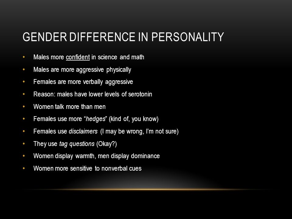 personality differences in gender Ahead of her time feminine psychology perhaps the most important contribution karen horney made to at gender differences personality style.