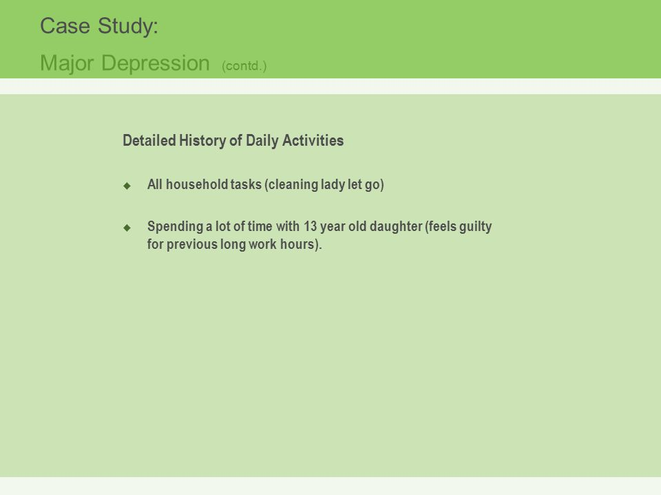 depression case study Online sample case study about depression free example case study analysis on depression and anxiety learn how to write a good case study on this topic.