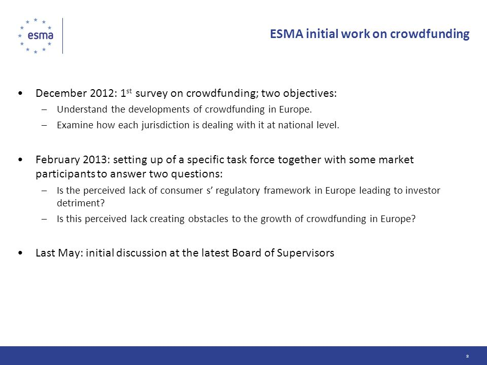ESMA initial work on crowdfunding