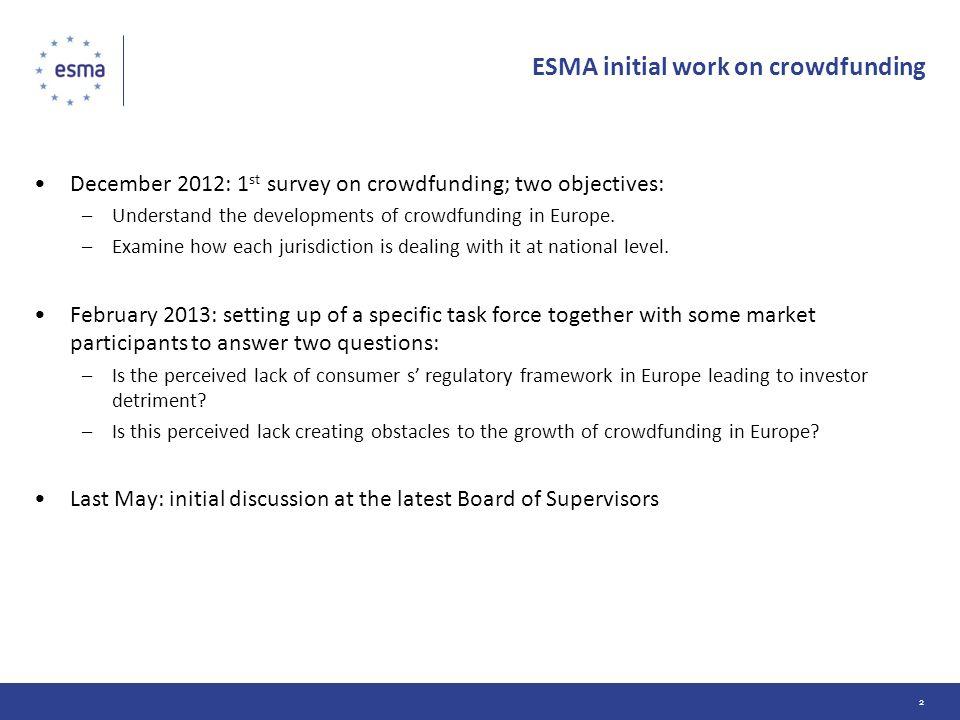 ESMA initial work on crowdfunding