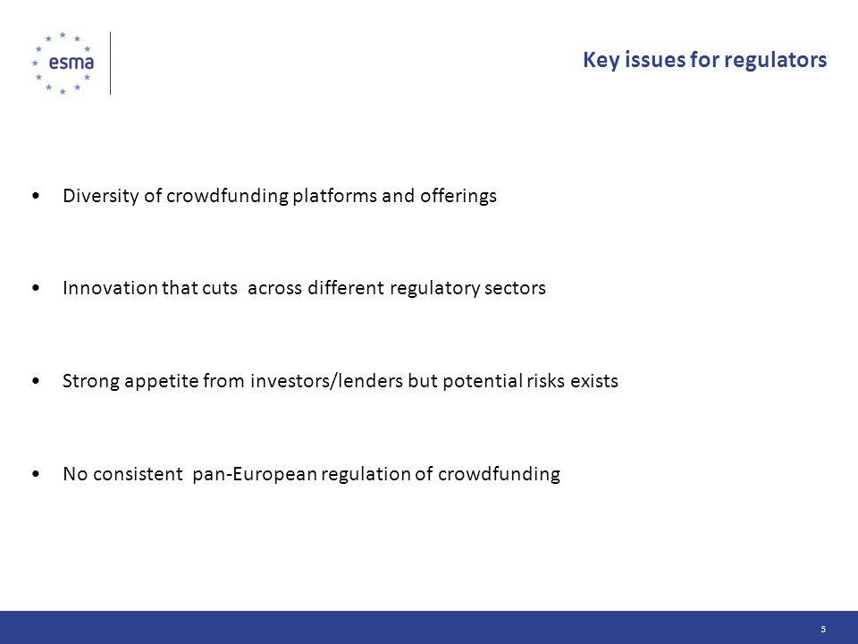 Key issues for regulators