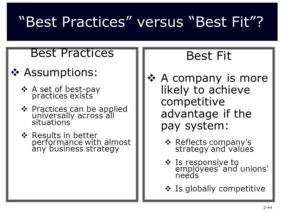 best fit vs best practice and