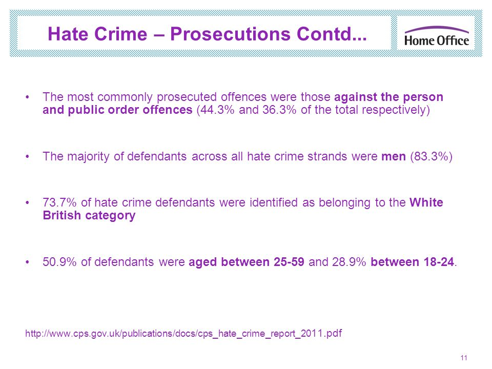 Hate Crime – Prosecutions Contd...