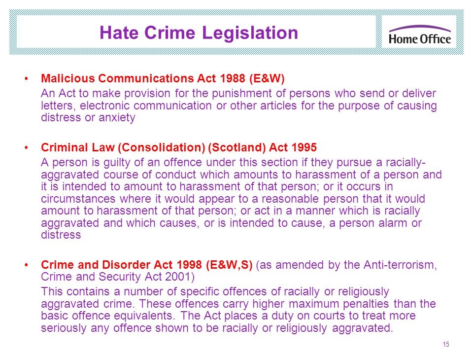 Hate Crime Legislation