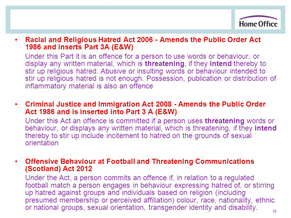 Racial and Religious Hatred Act Amends the Public Order Act 1986 and inserts Part 3A (E&W)