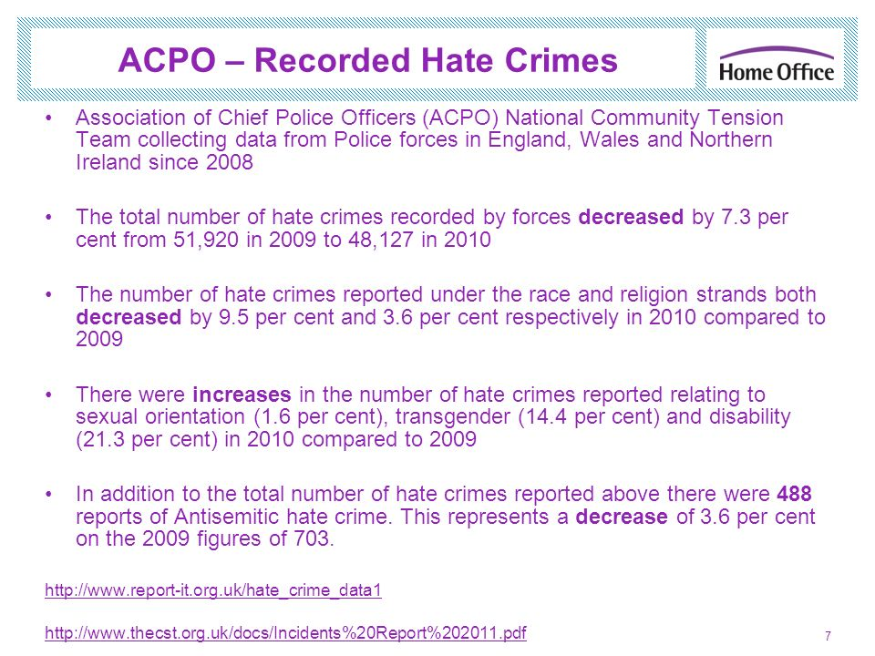 ACPO – Recorded Hate Crimes