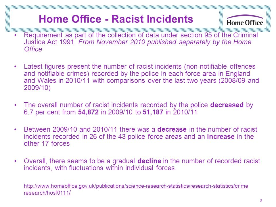 Home Office - Racist Incidents