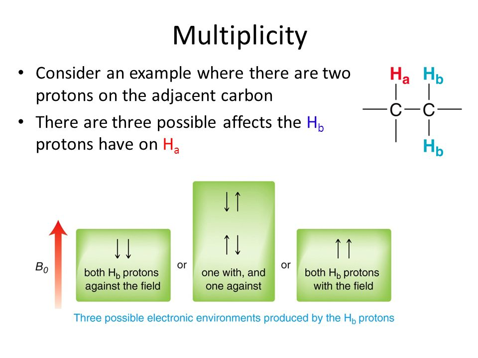 Multiplicity Consider an example where there are two protons on the adjacent carbon.