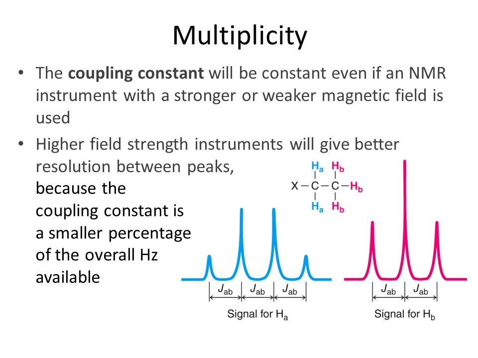 Multiplicity The coupling constant will be constant even if an NMR instrument with a stronger or weaker magnetic field is used.