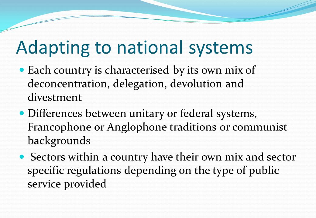 Adapting to national systems