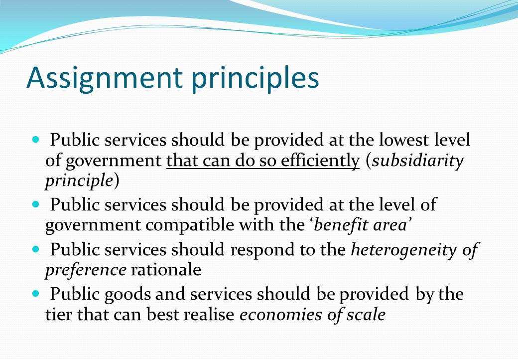 Assignment principles
