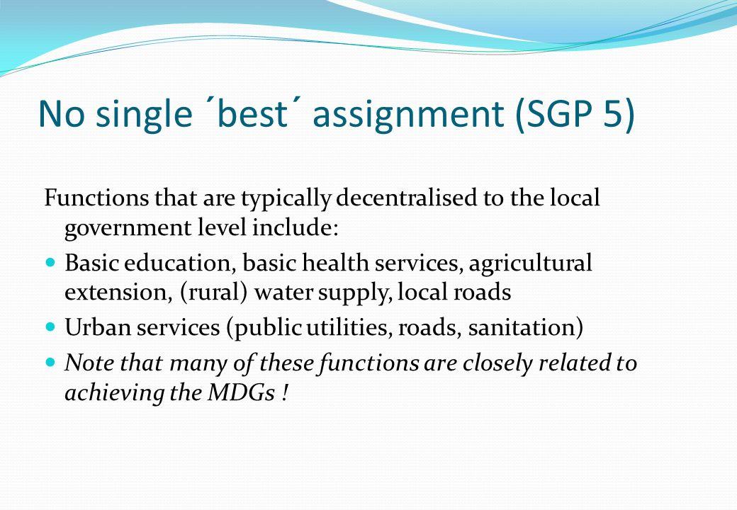 No single ´best´ assignment (SGP 5)