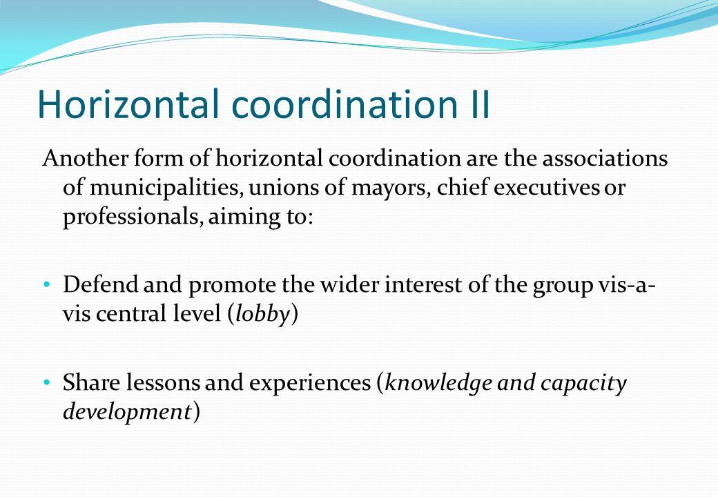 Horizontal coordination II