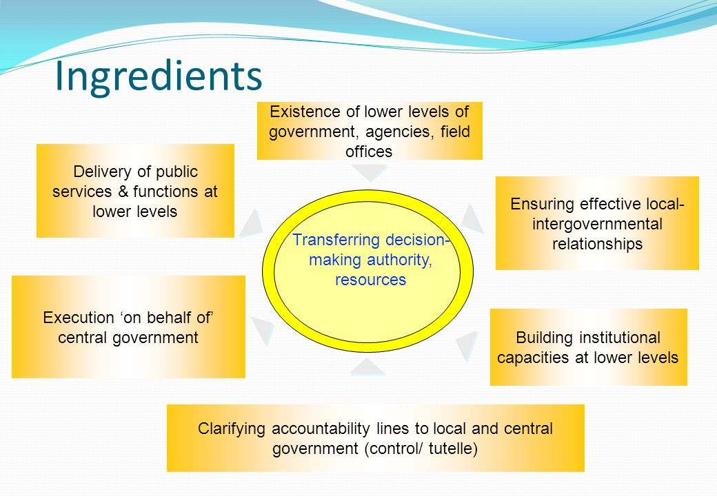 Ingredients Existence of lower levels of government, agencies, field offices. Delivery of public services & functions at lower levels.