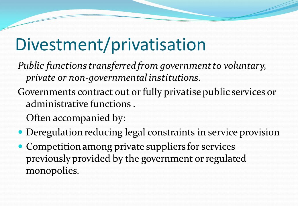 Divestment/privatisation