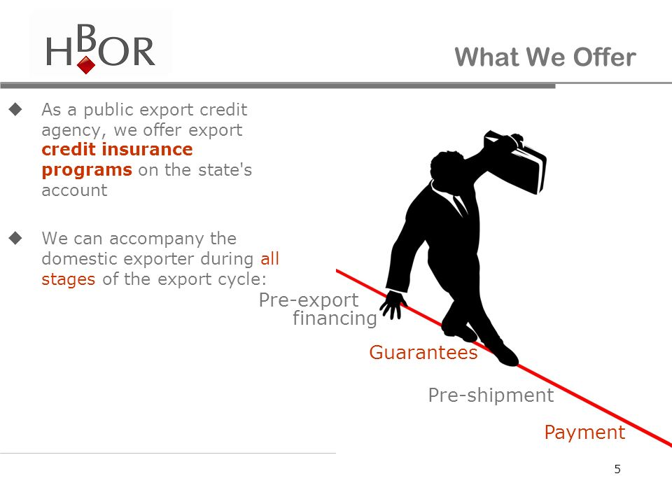 What We Offer Pre-export financing Guarantees Pre-shipment Payment
