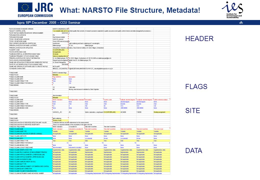 What: NARSTO File Structure, Metadata!