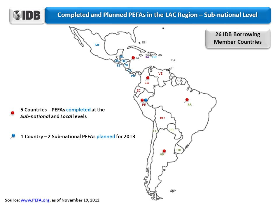 Completed and Planned PEFAs in the LAC Region – Sub-national Level