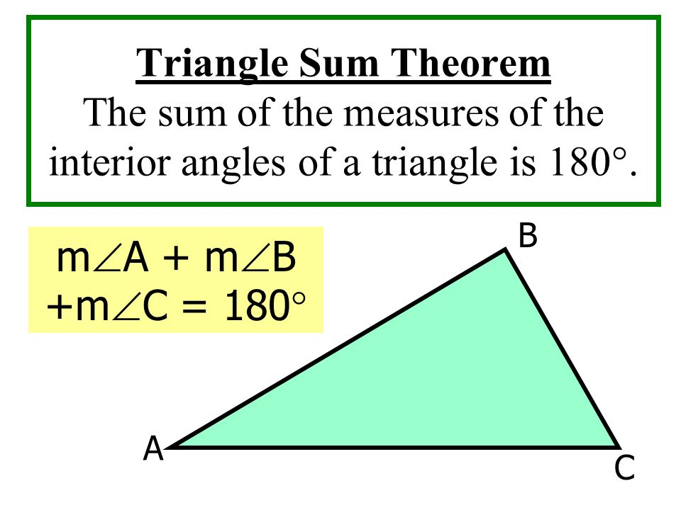 Triangle Sum Theorem The sum of the measures of the interior angles of a triangle is 180°.